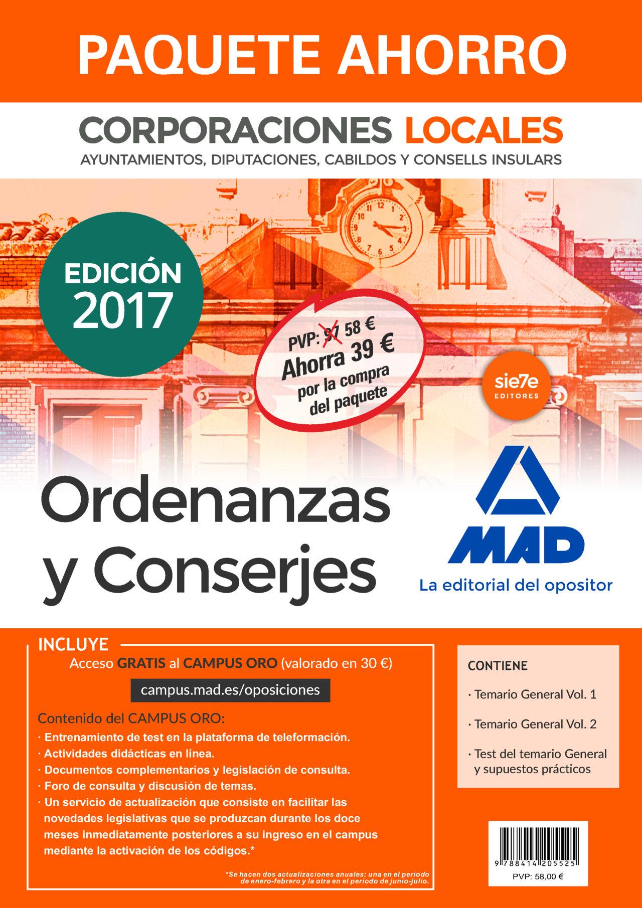 pack ordenanzas y conserjes de corporaciones locales. (incluye temario general volúmenes 1 y 2; test del-9788414205525