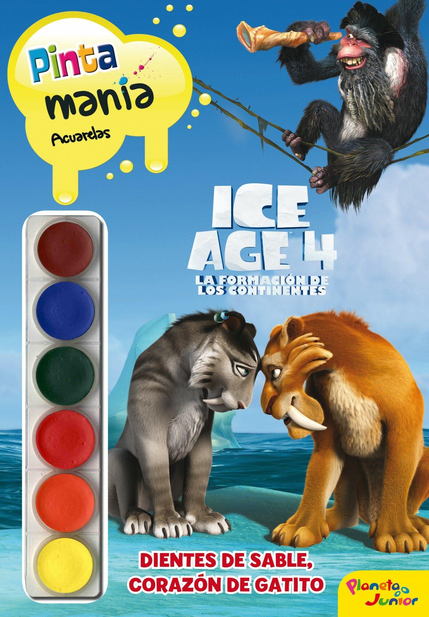 ICE AGE 4: PINTAMANIA ACUARELAS. DIENTES DE SABLE, CORAZON DE GAT ...