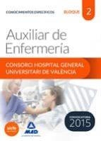 AUXILIAR DE ENFERMERÍA DEL CONSORCI HOSPITAL GENERAL UNIVERSITARI DE VALÈNCIA TEMARIO. BLOQUE 2 CONOCIMIENTOS ESPECÍFICOS