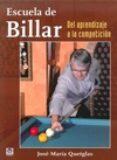 ESCUELA DE BILLAR. DEL APRENDIZAJE A LA COMPETICION - 9788479029975 - JOSE MARIA QUETGLAS