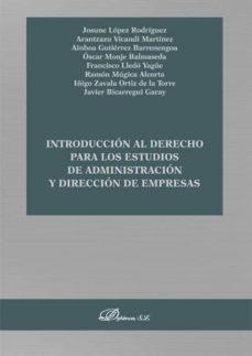 Libros gratis descargables en línea INTRODUCCIÓN AL DERECHO PARA LOS ESTUDIOS DE ADMINISTRACIÓN Y DIR ECCIÓN DE EMPRESAS in Spanish 9788413244235 PDB iBook
