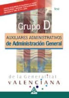 Emprende2020.es Auxiliares Administrativos De Administracion General De La Genera Litat Valenciana. Test (Grupo D) Image